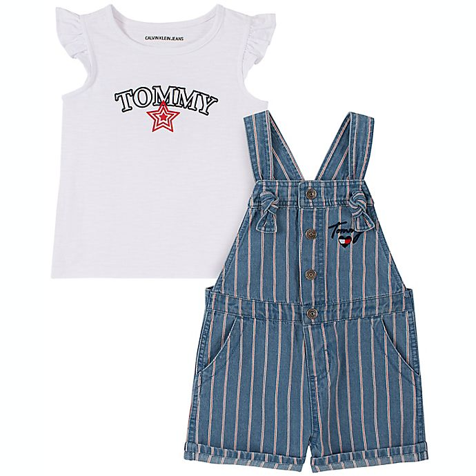 Alternate image 1 for Tommy Hilfiger® Size 12M 2-Piece Short Sleeve Top and Shortall Set in Blue
