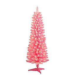 Puleo International 4.5-Foot Lit Flocked Pencil Christmas Tree in Pink with Clear Lights