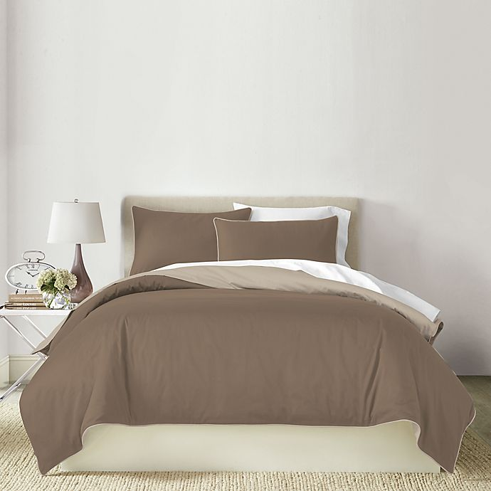 Alternate image 1 for Canadian Living Solid 3-Piece Reversible King Duvet Cover Set in Brown