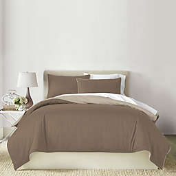 Canadian Living Solid 3-Piece Reversible King Duvet Cover Set in Brown