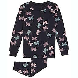 Petit Lem 2-Piece Butterflies Organic Cotton Pajama Top and Bottom Set in Black