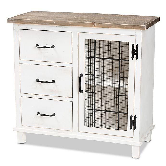 Alternate image 1 for Baxton Studio Mae 3-Drawer Storage Cabinet in White/Multi