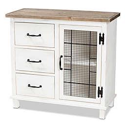 Baxton Studio Mae 3-Drawer Storage Cabinet in White/Multi