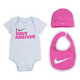 """Nike® Size 0-6M 4-Piece """"I Have Arrived"""" Bodysuit, Hat, and Bib Set in Pink"""