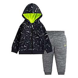 Nike® Size 12M 2-Piece Swoosh Hoodie & Pant Set in Black/Grey