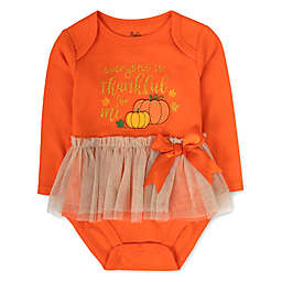 Baby Essentials® Thankful For Me Long Sleeve Bodysuit with Tutu in Orange/Brown