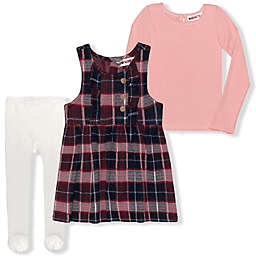 Nannette Baby® Size 6-9M 3-Piece Plaid Jumper, Bodysuit and Tights Set in Coral