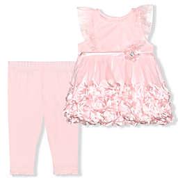 Nannette Baby® Size 6-9M 2-Piece Rosette Dress and Legging Set in Blush