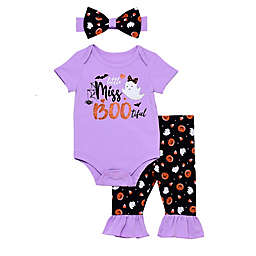 Baby Starters® 3-Piece Boo-Tiful Pant, Bodysuit, and Headband Set in Purple