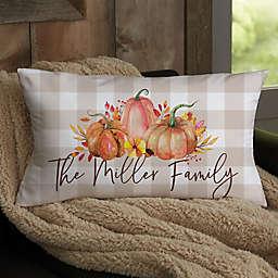 Autumn Watercolor Personalized Lumbar Throw Pillow