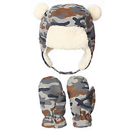 Nolan Originals Toddler Sherpa Camouflage Bear Trapper Hat and Mittens Set in Grey