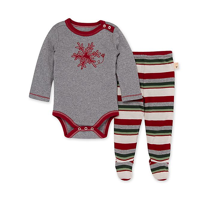 Alternate image 1 for Burt's Bees Baby® Snowflake Flurries Applique Bodysuit & Footed Pant Set