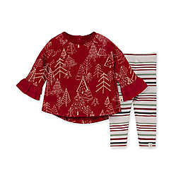 Burt's Bees Baby® 2-Piece Jolly Tree Stripe Tunic and Legging Set in Red/Multi