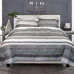 Springs Home Textured Stripe 3-Piece Full/Queen Comforter Set in Grey