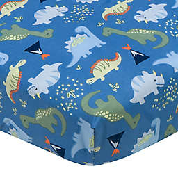 Gerber® Dino Fitted Crib Sheet in Blue