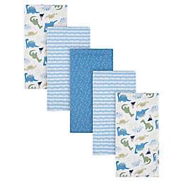 Gerber® 5-Pack Dinosaur Flannel Blankets in Blue