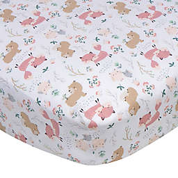Gerber® Woodland Fitted Crib Sheet in White