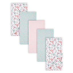 Gerber® 5-Pack Butterfly Flannel Blankets in Pink