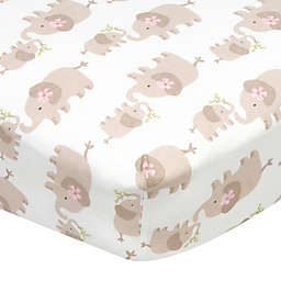 Gerber® Elephants Fitted Crib Sheet in White