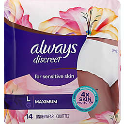 Always® Discreet 14-Count Overnight MaxPlus Incontinence Underwear in Large
