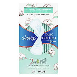 Always Pure Cotton FlexFoam 24-Count Size 2 Heavy Unscented Pads with Wings