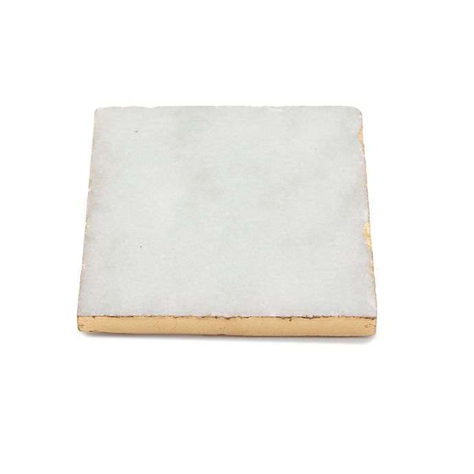 Alternate image 1 for Thirstystone® Marble Coaster with Gold Edge<br />