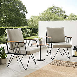 Forest Gate™ Modern Metal Patio Chair in Sandstone (Set of 2)