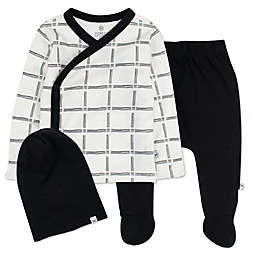 The Honest Compnay® Sketchy Grid Side Snap Top, Pant and Beanie Set in White/Black