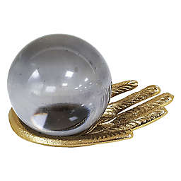 Wild Sage™ Hand with Glass Orb Sculpture in Gold