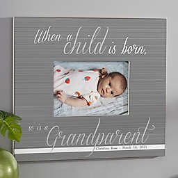 A Grandparent Is Born Personalized 5-Inch x 7-Inch Wall Frame