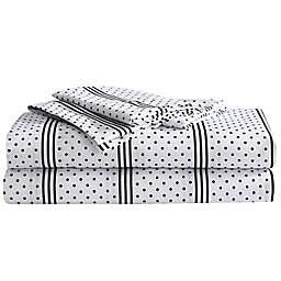 Betsy Johnson® Dots And Stripes Full Sheet Set in Charcoal