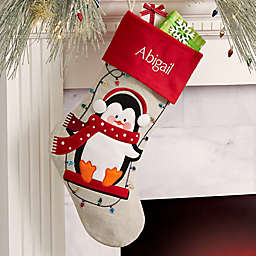 Christmas Lights Penguin Personalized Christmas Stocking
