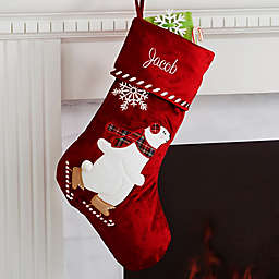 Candy Cane Polar Bear Personalized Christmas Stocking