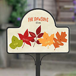 Fall Family Leaf Character Magnetic Garden Sign