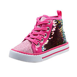 Laura Ashley® High Top Lace-Up Sequin Sneaker in Pink