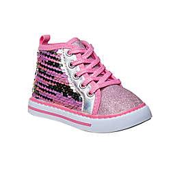 Laura Ashley® Hi-Top Sequin Sneaker in Fuchsia
