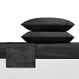 Betsy Johnson® Solid Satin Sheet Set in Black