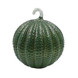 Bee & Willow™ Textured Glass LED Pumpkin in Green