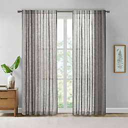 Madison Park® Kane 95-Inch Texture Printed Woven Faux Linen Window Curtain Panel in Grey
