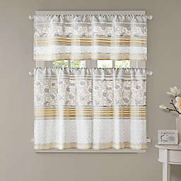 Madison Park Dawn Printed and Pieced Rod Pocket Kitchen Tier Set in Yellow
