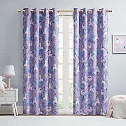 Urban Habitat Kids Lola 63-Inch Unicorn Printed Cotton Total Blackout Window Curtain Panel in Purple