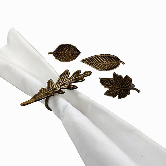 Alternate image 1 for Harvest Leaf Metal Napkin Rings in Bronze (Set of 4)