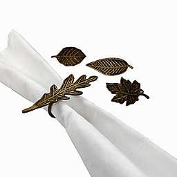 Harvest Leaf Metal Napkin Rings in Bronze (Set of 4)