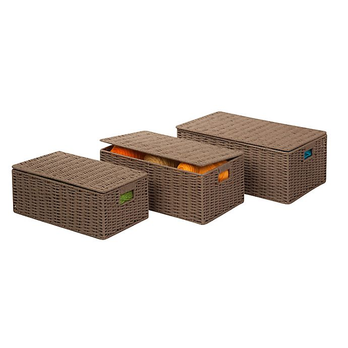 Alternate image 1 for Honey-Can-Do® Parchment Cord Box in Taupe (Set of 3)