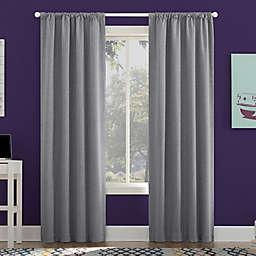 Sun Zero Jules Total Blackout 96-Inch Rod Pocket Window Curtain Panel in Sterling
