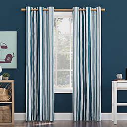 Sun Zero Pippa Stripes Total Blackout Grommet Window Curtain Panel