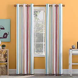 Sun Zero Pippa Stripes Total Blackout 84-Inch Grommet Window Curtain Panel in Pink