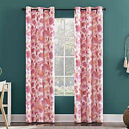 Sun Zero Tie Dye Print Total Blackout 84-Inch Grommet Window Curtain Panel in Pink