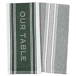 Our Table™ Banded Logo Kitchen Towels in Green (Set of 2)