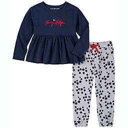 Tommy Hilfiger® Size 4T 2-Piece Logo Top and Star Jogger Set in Navy